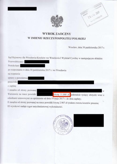 Odszkodowanie w wysokości 11.000 zł