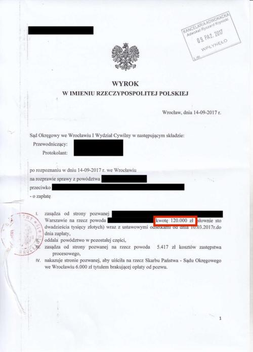 Odszkodowanie w wysokości 120.000 zł