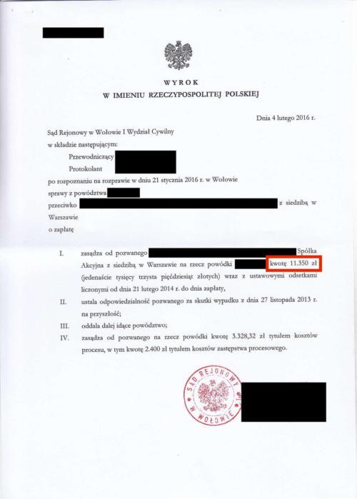 Odszkodowanie w wysokości 11.350 zł