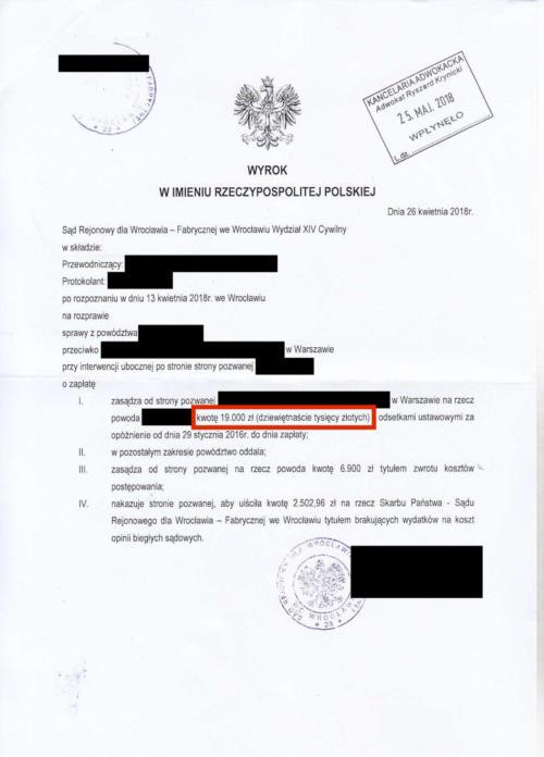 Odszkodowanie w wysokości 19.000 zł
