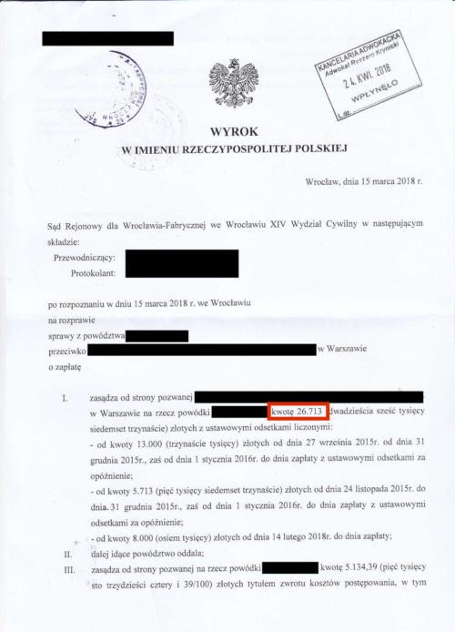 Odszkodowanie w wysokości 26.713 zł