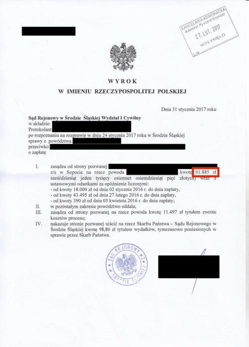 Odszkodowanie w wysokości 61.885 zł